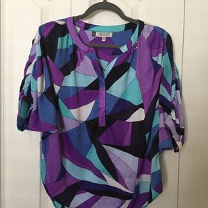 Purple geometric pattern Jennifer Lopez blouse